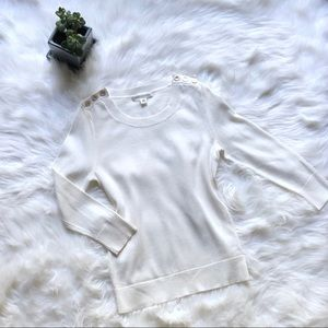 Banana Republic cream crew neck sweater w/ buttons